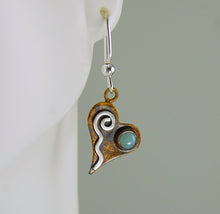 Load image into Gallery viewer, Patina Silver Tiny Heart Earrings with Pale Green Banded Agate and Sterling Silver Wavy Spiral, AE1, Lois Linn Jewelry