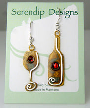 Load image into Gallery viewer, Wine Bottle and Glass Earrings in Patina Sterling Silver with Red Paua Shell Cabochons, BE3r, Lois Linn Jewelry