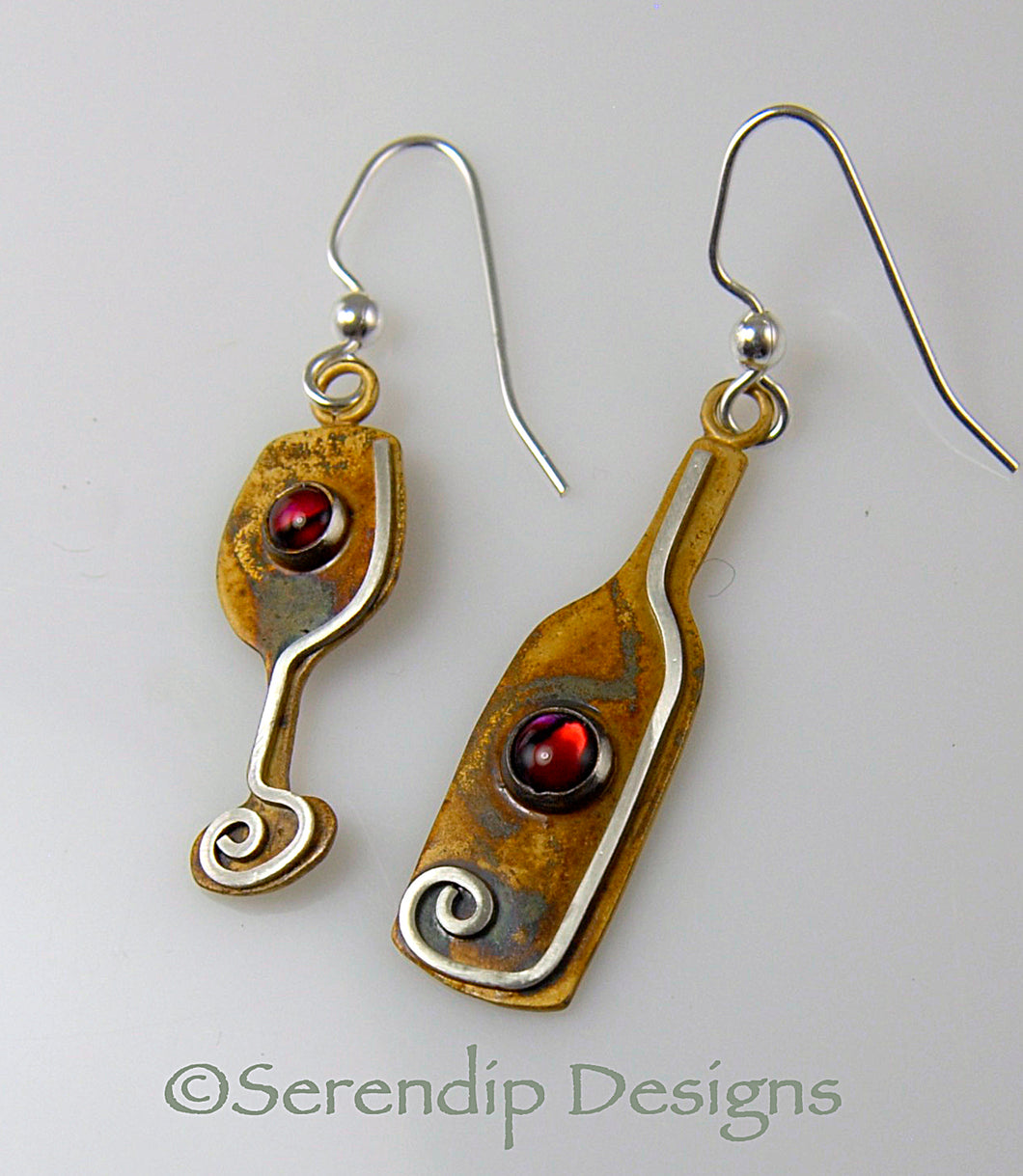 Wine Bottle and Glass Earrings in Patina Sterling Silver with Red Paua Shell Cabochons, BE3r, Lois Linn Jewelry