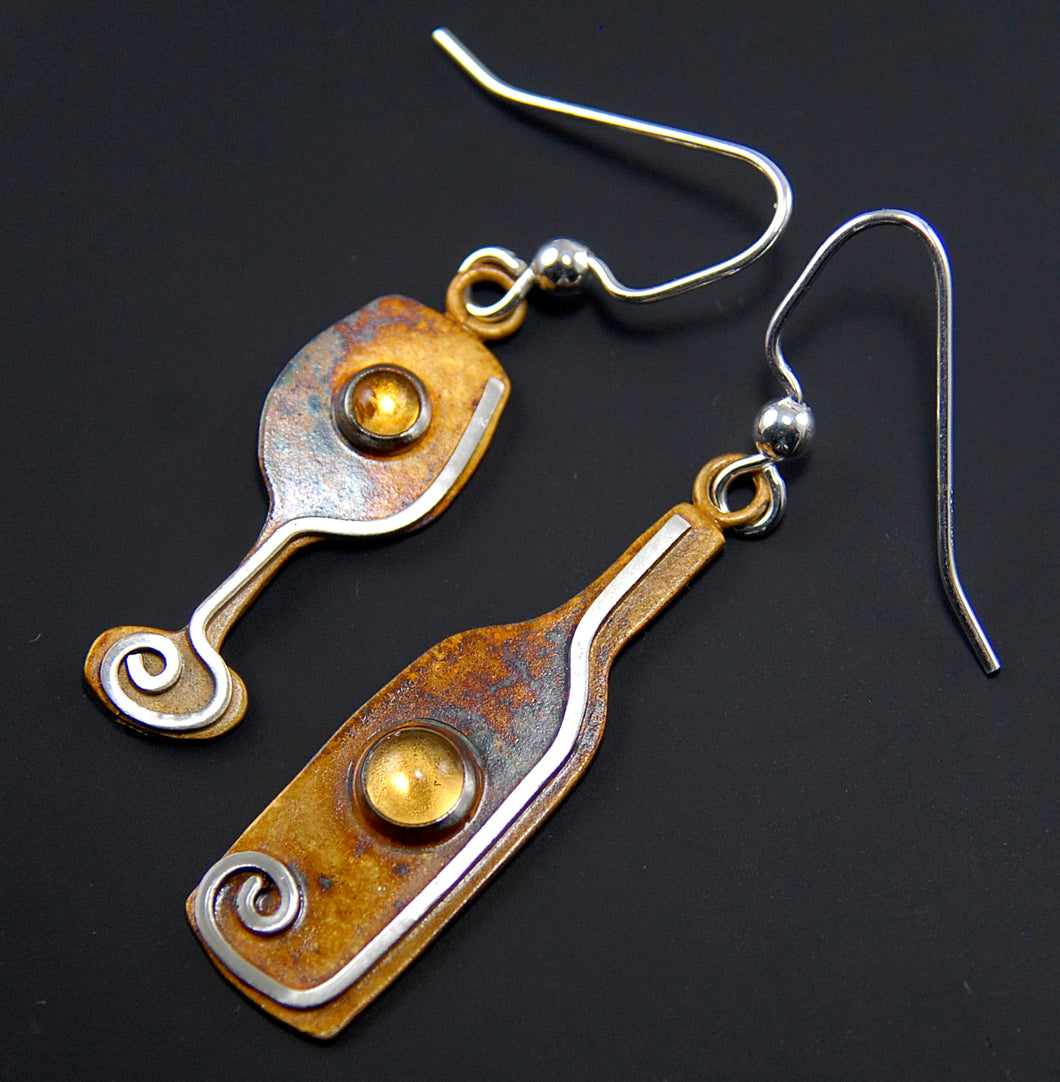 Wine Bottle and Glass Earrings in Patina Sterling Silver with Citrine Cabochons, BE3w, Lois Linn Jewelry
