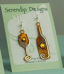 Copy of Wine Bottle and Glass Earrings in Patina Sterling Silver with Citrine Cabochons, BE3w, Lois Linn Jewelry
