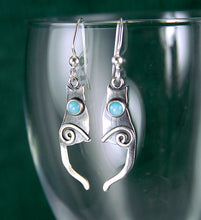 Load image into Gallery viewer, Shiny Sterling Silver Cat Earrings set with Amazonite Cabochons CE2j, Lois Linn Jewelry