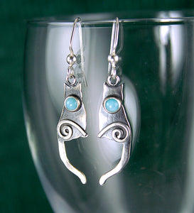 Shiny Sterling Silver Cat Earrings set with Amazonite Cabochons CE2j, Lois Linn Jewelry