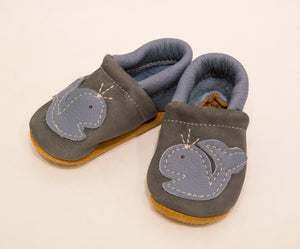 Baby Shoes Blue Whale, Size 4( fits12 month) Starry Knight Design
