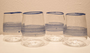 Labreque glass, Handmade Clear Glass with Blue Bands