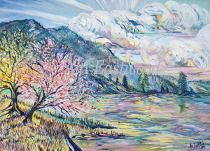 """Cherry Blossoms on Flathead Lake, Montana""  2015 Ani Eastwood"
