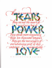 "Load image into Gallery viewer, ""Tears Power Love"" Ann Franke"