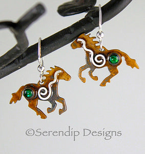 Sterling Silver Spiral Running Horse Earrings with Patina, Green Paua Shell, and Mystic Spirals, HE1, Lois Linn Jewelry