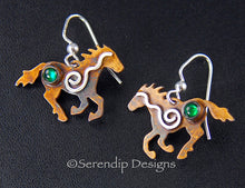 Load image into Gallery viewer, Sterling Silver Spiral Running Horse Earrings with Patina, Green Paua Shell, and Mystic Spirals, HE1, Lois Linn Jewelry
