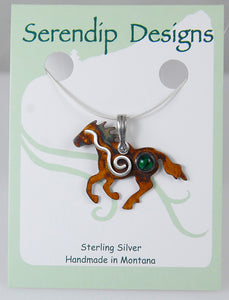 Sterling Silver Wild Mustang Pendant with Spiral and Green Paua Shell Cabochon, HN1, Lois Linn Jewelry