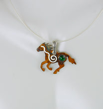 Load image into Gallery viewer, Sterling Silver Wild Mustang Pendant with Spiral and Green Paua Shell Cabochon, HN1, Lois Linn Jewelry