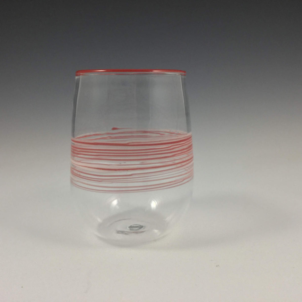 Labreque glass, Handmade Clear Glass with Red Bands