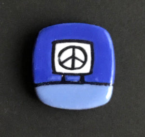 Ceramic Peace Sign Magnetic Pin , Baby Blue and Ultramarine Blue, Glenn Parks
