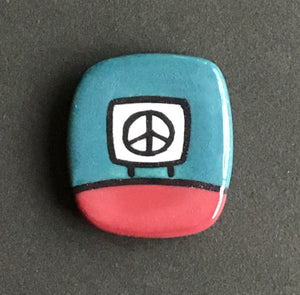 Ceramic Peace Sign Magnetic Pin, Ochre and Forest Green, Glenn Parks