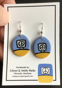 Ceramic Peace Sign Earrings ,Baby Blue and Yellow, Glenn Parks