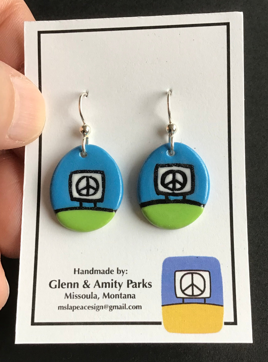 Ceramic Peace Sign Earrings ,Lime and Forest Green2, Glenn Parks