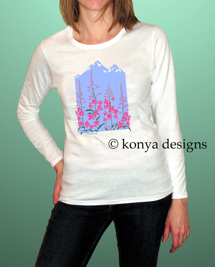 Lady's Fireweed Shirt (Short Sleeve and Long Sleeve)  Konya Designs