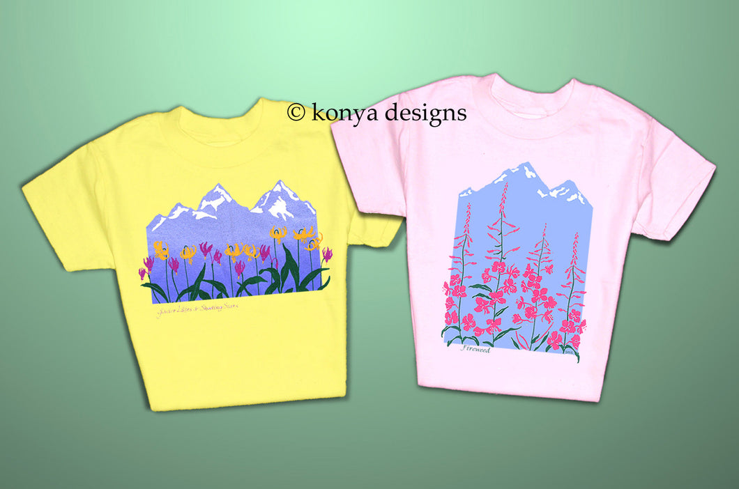 Girl's Wildflower T-shirts, Konya Designs (Yellow and Pink options)