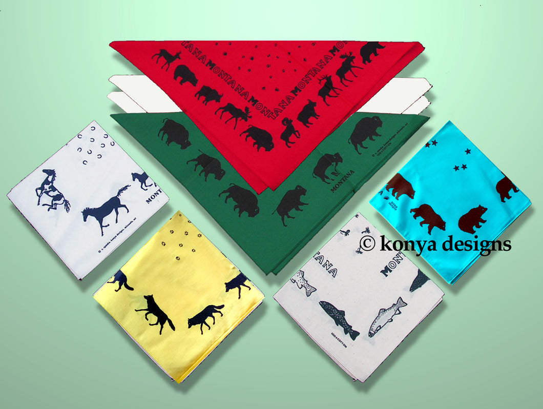 Montana Wildlife Bandana Collection; Great for face masks, quarantine masks.