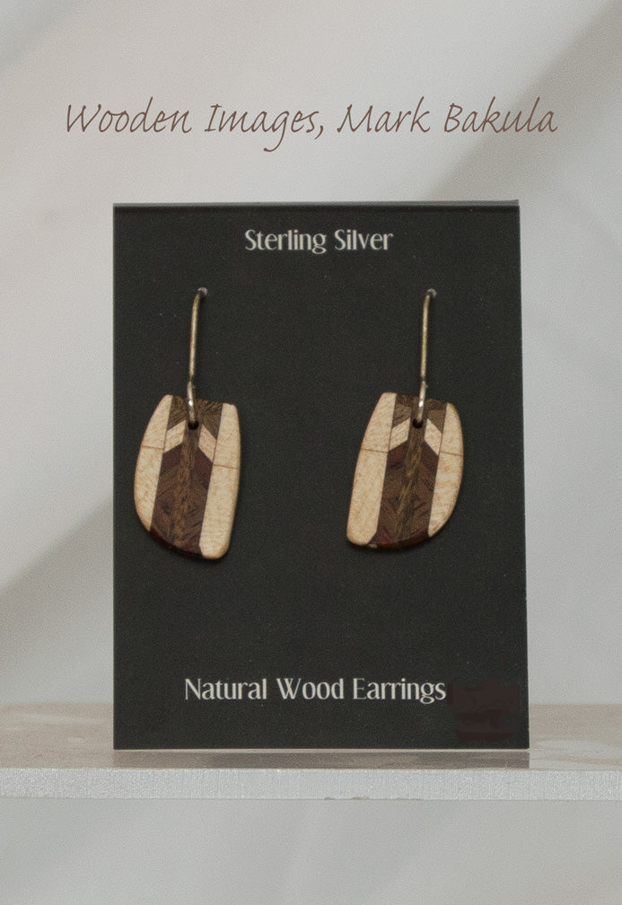 Wooden Inlay Earrings, Mark Bakula #9 Jewelry