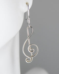 Silver Treble Clef Earrings, Argentium Sterling Silver Musical Earrings SE15, Lois Linn Jewelry