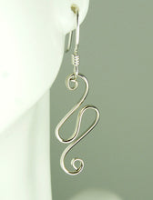 Load image into Gallery viewer, Shiny Silver Argentium Sterling Wave Earrings, SE53 , Lois Linn Jewelry