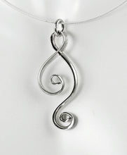 Load image into Gallery viewer, Argentium Sterling Silver Spiral Ketta Pendant, Shiny Silver Double Spiral Necklace, SN11 , Lois Linn Jewelry
