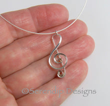 Load image into Gallery viewer, Argentium Sterling Silver Treble Clef Pendant, Sterling Silver Music Necklace, Musician Gift SN15, Lois Linn Jewelry