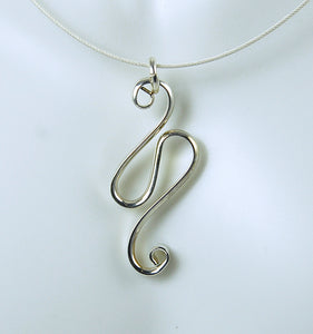 Sterling Silver Shiny Wave Pendant, SN53 , Lois Linn Jewelry