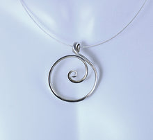 Load image into Gallery viewer, Larger Zen Spiral Circle Necklace in Argentium Sterling Silver, Crashing Wave Pendant, SN61 , Lois Linn Jewelry