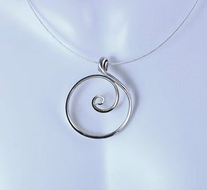 Larger Zen Spiral Circle Necklace in Argentium Sterling Silver, Crashing Wave Pendant, SN61 , Lois Linn Jewelry