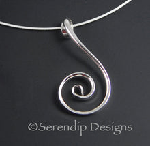 Load image into Gallery viewer, Shiny Silver Fibonacci Spiral Pendant, Larger Shiny Sterling Silver Zen Spiral Necklace, SN8 , Lois Linn Jewelry