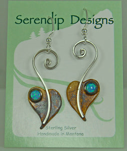 Patina Sterling Silver Lilac Leaf Earrings with Blue Opal, October Birthstone , XE2, Lois Linn Jewelry