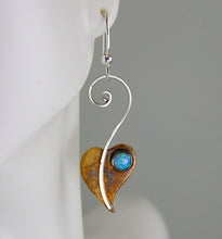 Load image into Gallery viewer, Patina Sterling Silver Lilac Leaf Earrings with Blue Opal, October Birthstone , XE2, Lois Linn Jewelry
