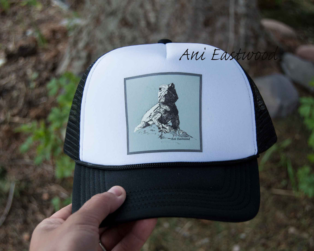 Desert Spiny Lizard Trucker Hat, Ani Eastwood