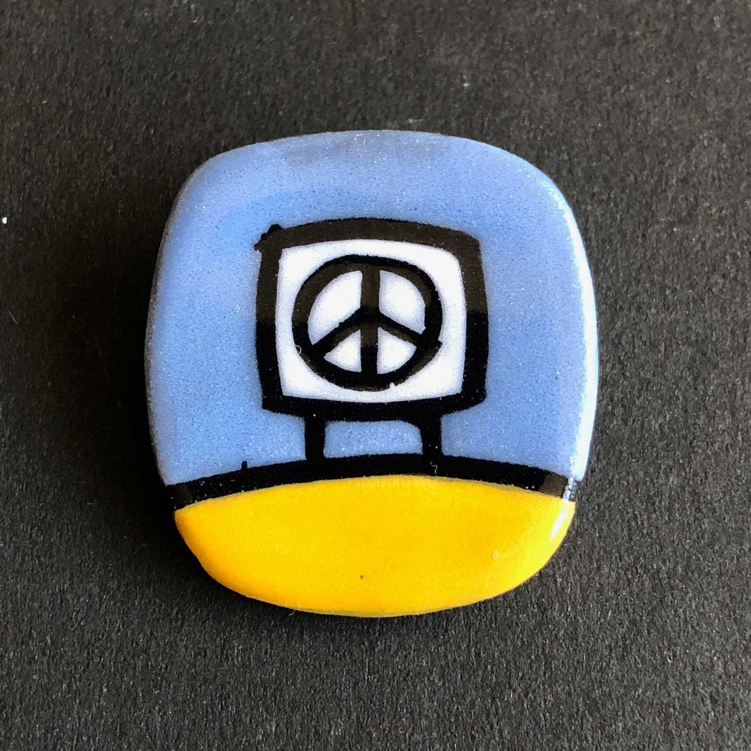 Ceramic Peace Sign Matgnetic Pin Yellow and Blue, Glenn Parks