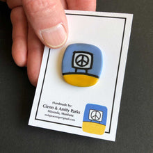 Load image into Gallery viewer, Ceramic Peace Sign Matgnetic Pin Yellow and Blue, Glenn Parks
