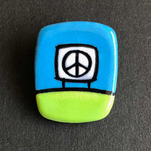Load image into Gallery viewer, Ceramic Peace Sign Magnetic Pin, Lime Green and Forest Green, Glenn Parks