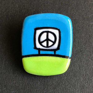 Ceramic Peace Sign Magnetic Pin, Lime Green and Forest Green, Glenn Parks
