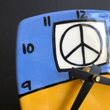 Load image into Gallery viewer, Blue and Yellow Desk Peace Sign Clock, Glenn Parks