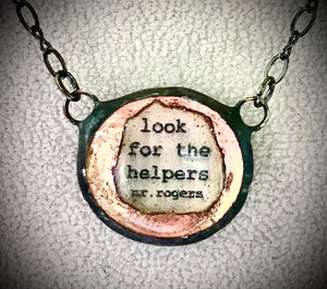 "16"" -18"" Long Necklace ""Look for the Helpers"" Mr. Rogers, Monica van der Mars"