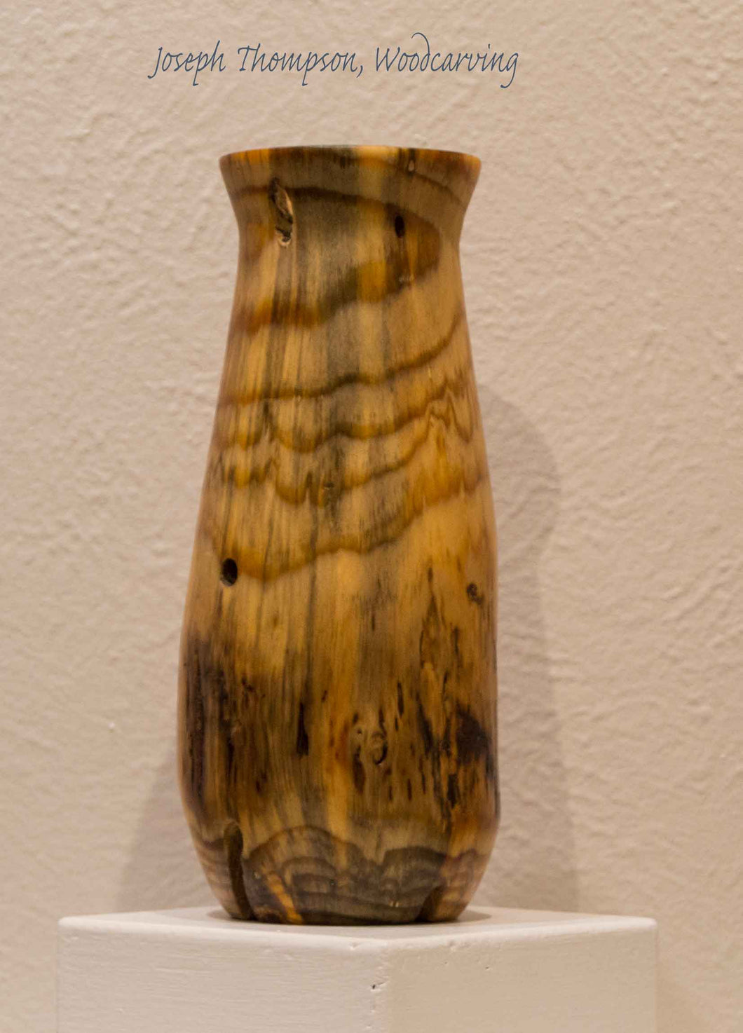 Pine Vase (44) Joseph Thompson, Woodcarving