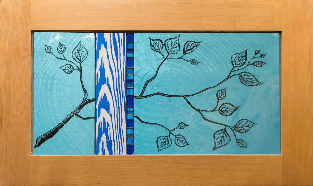 Large Window Hanging, Teal and Blue Branch, Kiki Renander #2