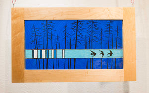 Large Window Hanging, Dark Blue Birds, Kiki Renander #5