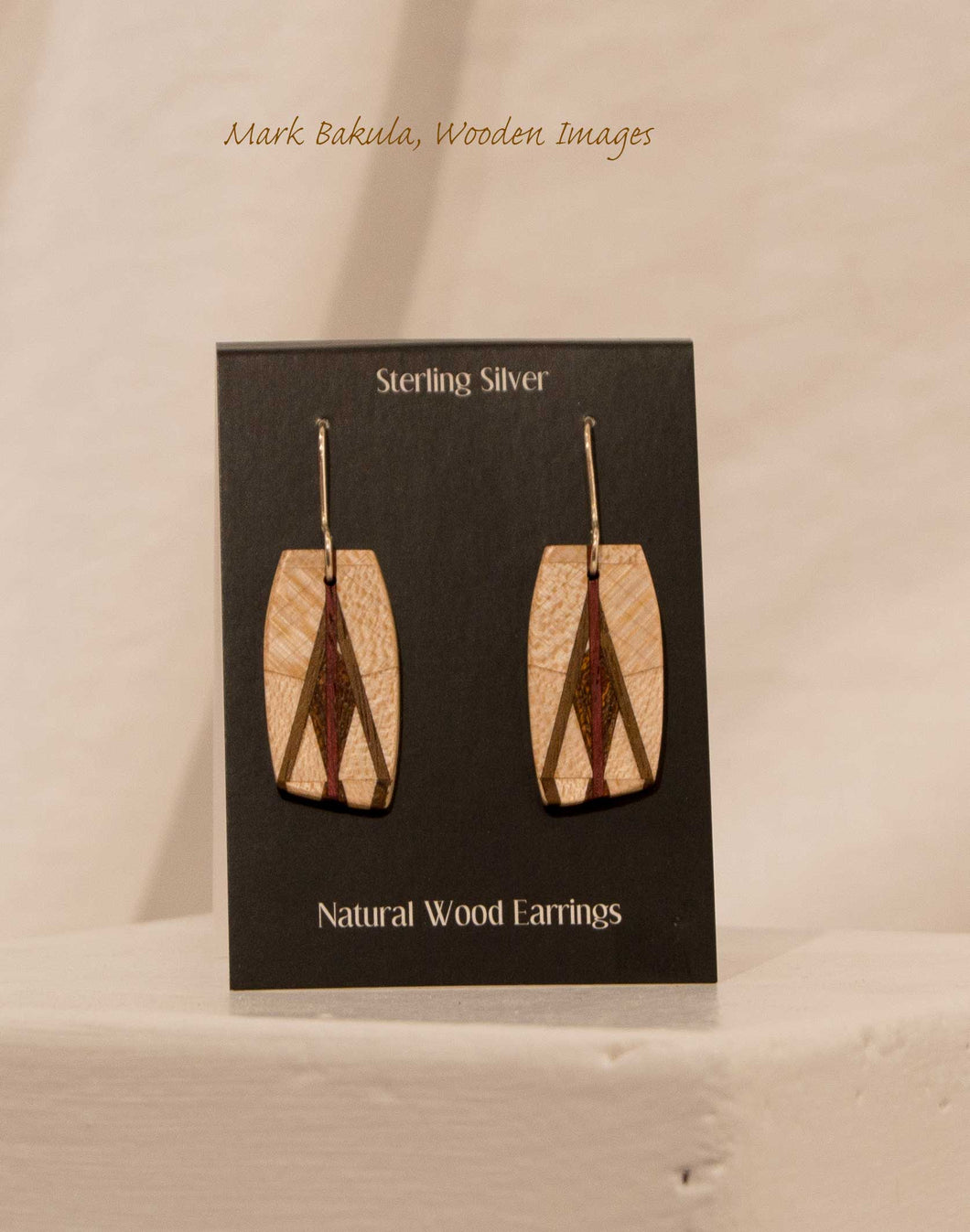 Wooden Inlay Earrings, Mark Bakula #33 Jewelry
