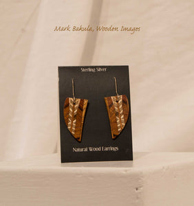 Wooden Inlay Earrings, Mark Bakula #34 Jewelry