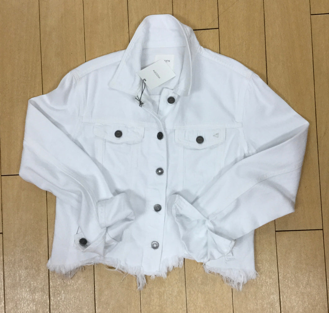 Hidden Jacket Light Weight Distressed White Denim Jacket