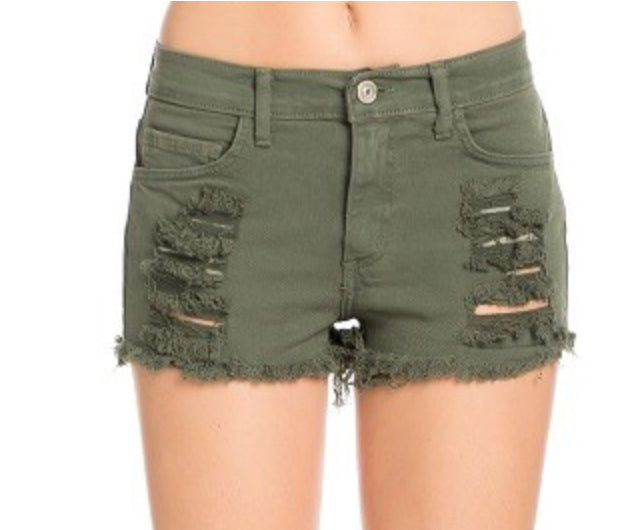 Olive Green Ripped Denim Short