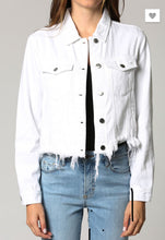 Load image into Gallery viewer, Hidden Jacket Light Weight Distressed White Denim Jacket
