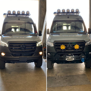 Hammerhead front bumper for sprinter vans with and without